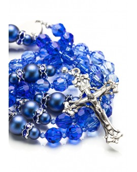 Shade of Blue Swarovski Crystals and Dark Blue Pearls Rosary
