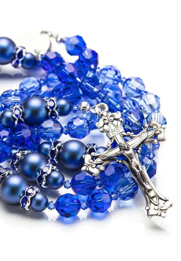 ea68bba50a35ee Shade of Blue Swarovski Crystals and Dark Blue Pearls Rosary ...