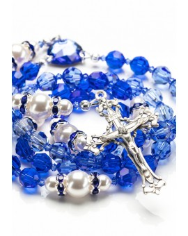 Shade of Blue Swarovski Crystals and Pearls Rosary