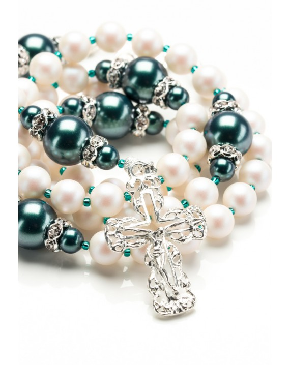 Swarovski Satin Pearls, ancient Green beads Rosary