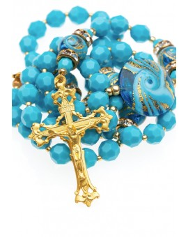 Swarovski Turquoise and Murano Glass Rosary
