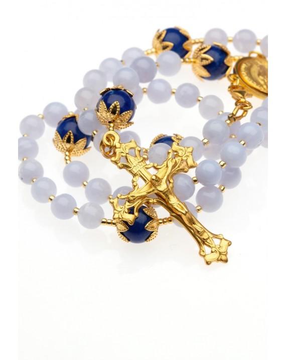 Chalcedony and Blue Jade Rosary