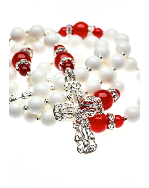 White Shell and Red Corniola Rosary
