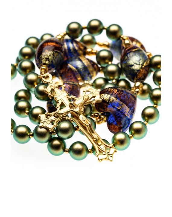 Iridescent Green Swarovski and Murano Glass