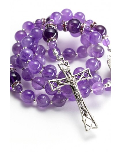 Absolut Amethyst Sterling Silver Precious Crucifix And Center