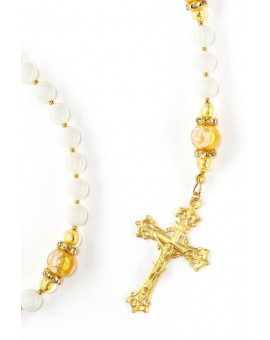 Gold and Ivory Crystal Rosary