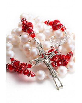 Passion Red Pearlscent Pearls Rosary