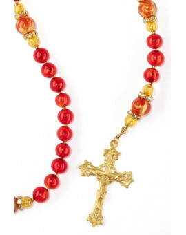 Silver Red Royal Gold Rosary