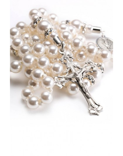 White Pearl Timeless Charm Rosary