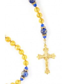 Gold Foil Royal Blue Rosary