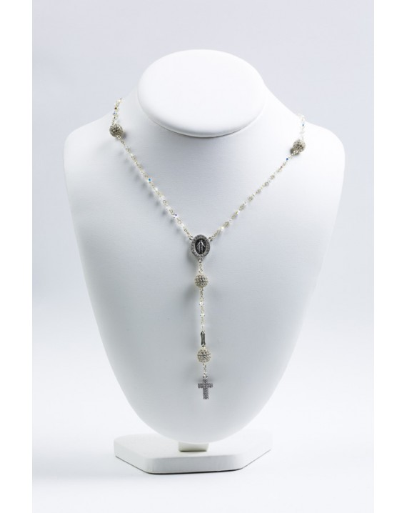 Clear Zircons Pave Rosary Necklace
