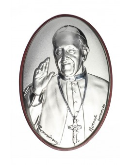 Pope Francis oval Bilaminate Sterling Silver icon