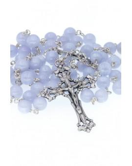 Chalcedony Silver Rosary