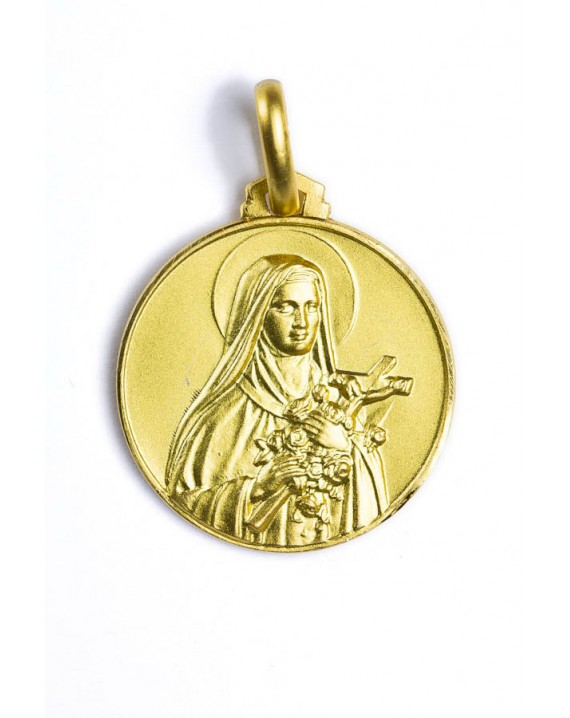 St. Therese of Lisieux gold plated medal