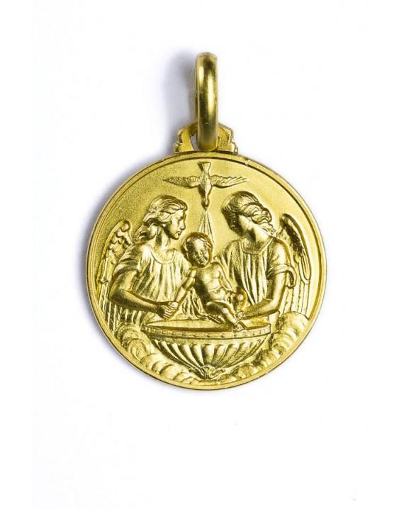 Baptism Medal gold plated