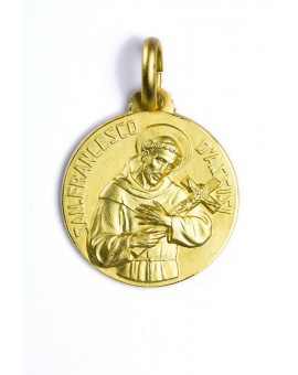 St. Francis from Assisi gold plated medal
