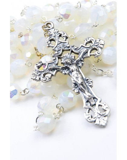 Faceted White Glass Rosary 8mm