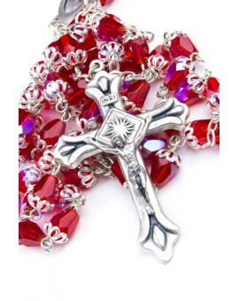 Red crystal drop Rosary