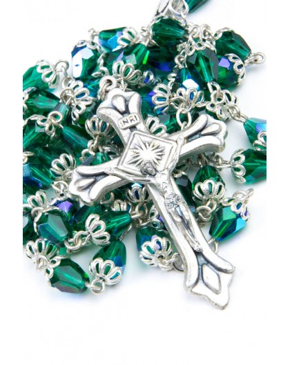 Green crystal drop Rosary