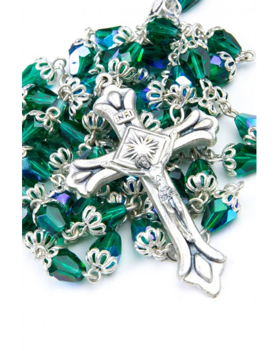 Green crystal drop Rosary