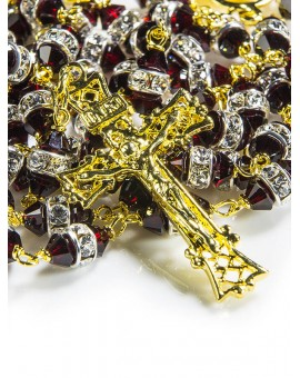 Granata Red Swarovski Crystal beads Rosary