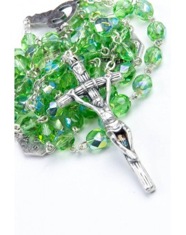 Four Basilicas Light Green Rosary small