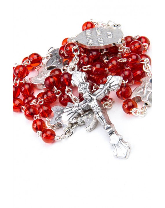 Red Glass Rosary with Holy Spirit Our Fathers