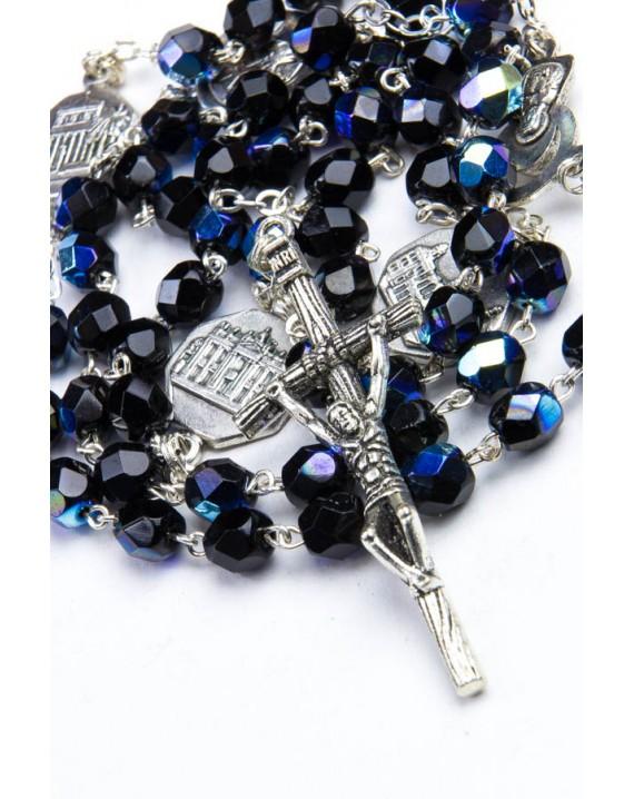 Four Basilicas Black Rosary small