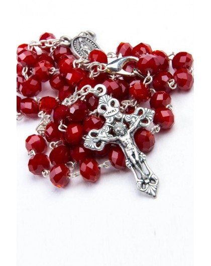 Red Faceted Glass Rosary