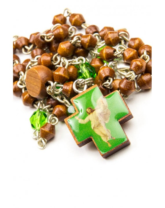 Wood and green Glass Rosary