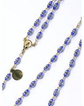 Blue White Swarovski Crystal gold plated