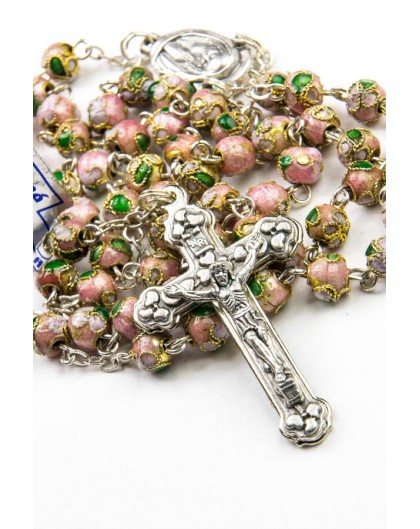 Pink Cloisonne small Rosary