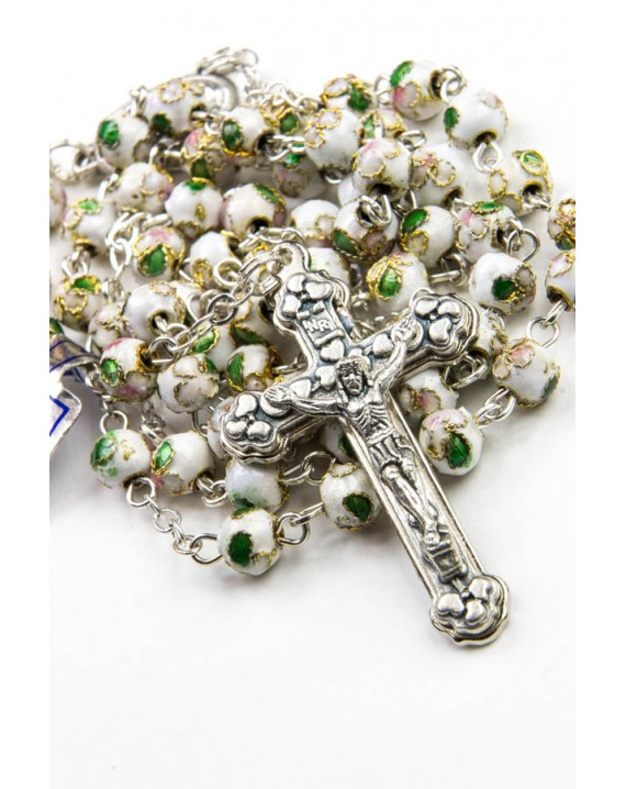 White Cloisonne small Rosary