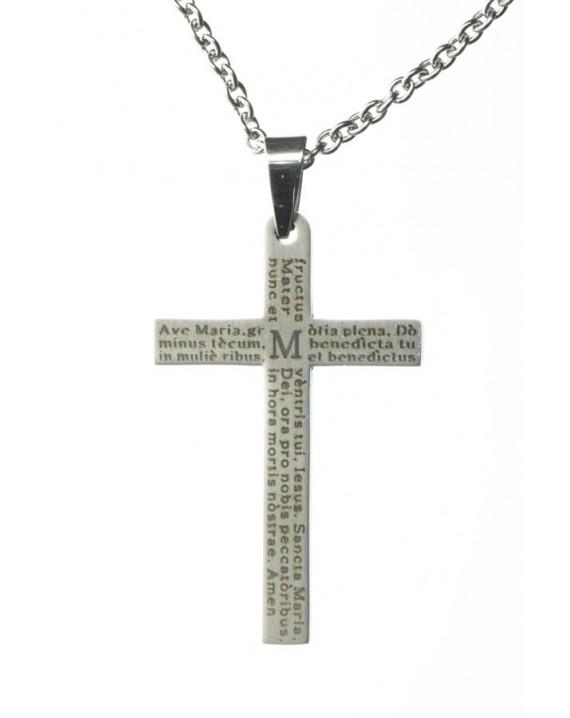 Ave Maria Steel Crucifix