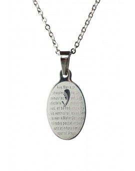 Ave Maria Steel Pendant small