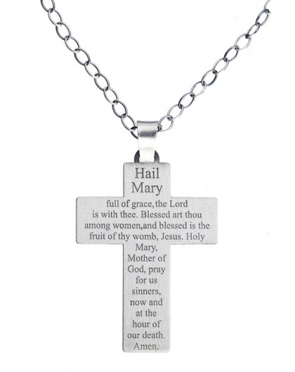 Hail Mary Sterling Silver Crucifix big
