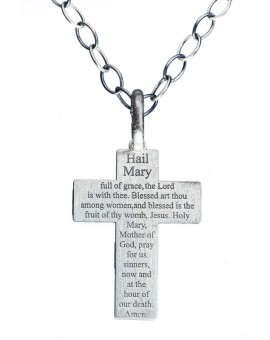 Hail Mary Sterling SIlver Crucifix small
