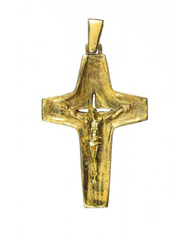 Pope Francis modern Crucifix brass