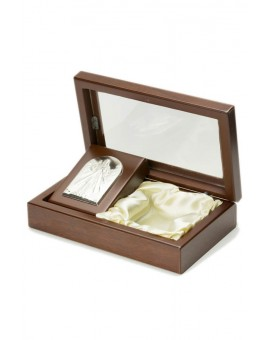 Rosary Box with Divine Mercy Bilaminate Silver Plaque 2058