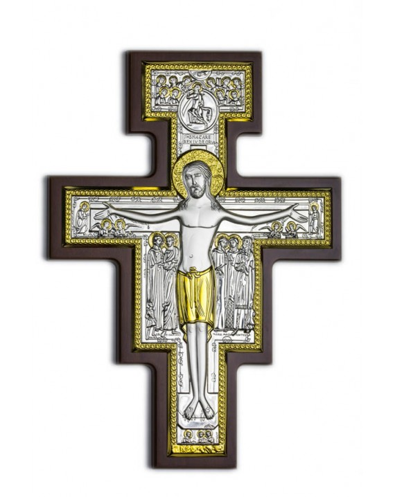 Crucifix Bilaminate Sterling Silver and Gold 0823