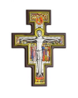 Handpainted Crucifix Bilaminate Sterling Silver 0826