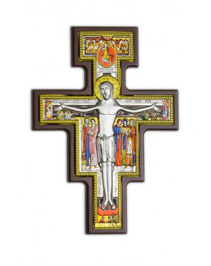 Handpainted Crucifix Bilaminate Sterling Silver 0826