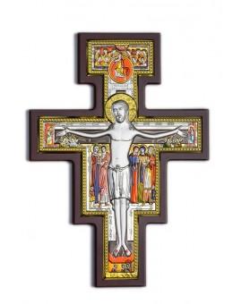 Handpainted Crucifix Bilaminate Sterling Silver 0827