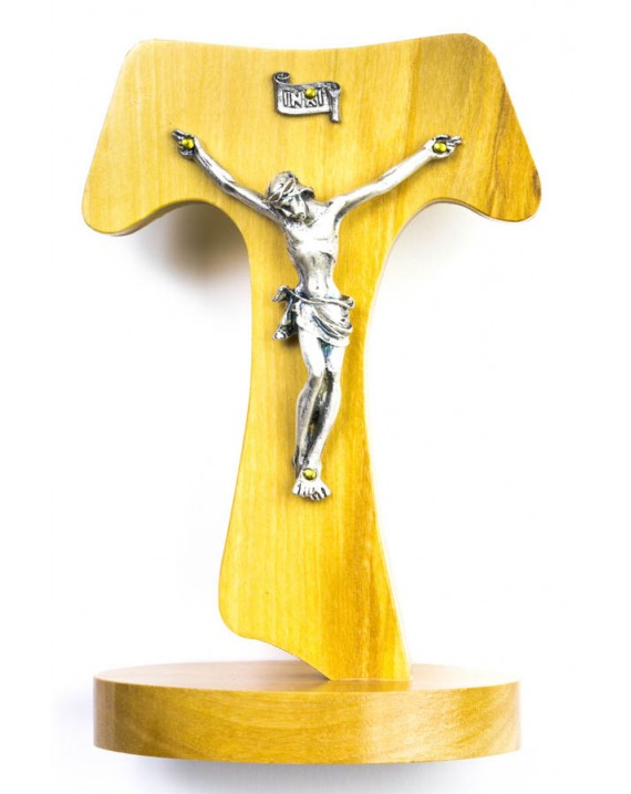 Olive Wood Tau Crucifix on stand big