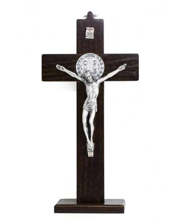 St. Benedict Crucifix light wood with base - Prestige series