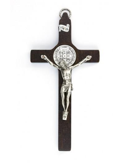 St. Benedict Crucifix walnut wood