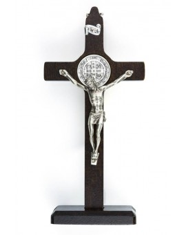 St. Benedict Crucifix walnut wood with base