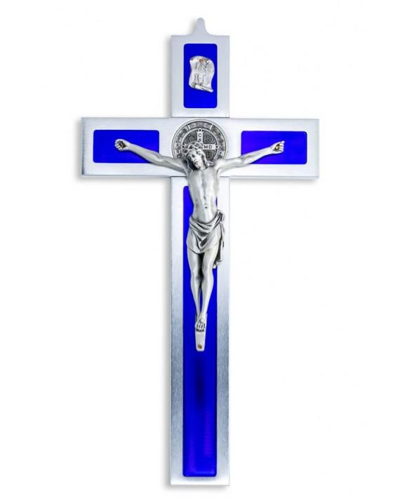 St. Benedict Crucifix aluminium and blue enamel