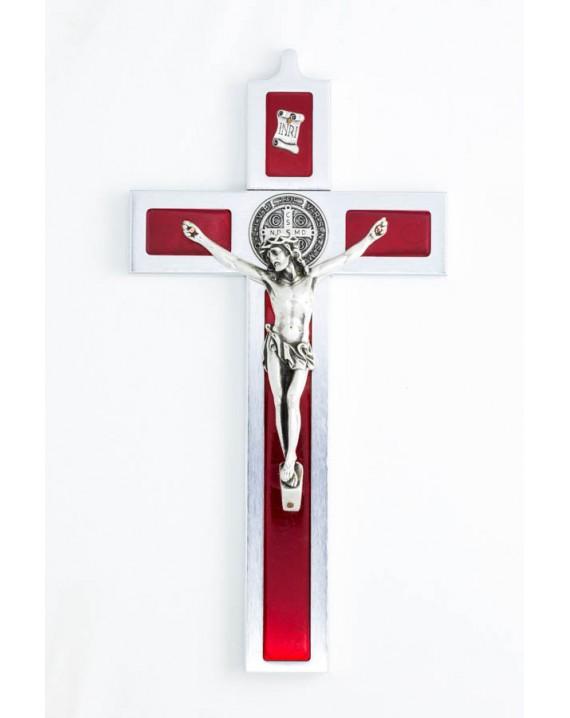 St. Benedict Crucifix aluminium and red enamel