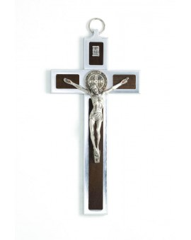 St. Benedict Crucifix aluminium and walnut wood